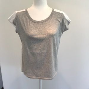 Gap grey tee with white eyelet back top